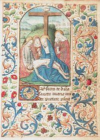 La preghiera obsecro te illustrata con una miniatura della Pietà, tratta dal Libro delle Ore di Angers risalente alla fine del XV secolo