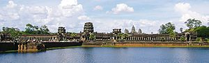 View of the moat surrounding Angkor Wat in the...