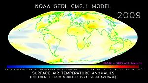 Файл:Animation of projected annual mean surface air temperature from 1970-2100, based on SRES emissions scenario A1B (NOAA GFDL CM2.1).webm