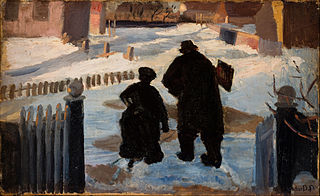 Michael Ancher on his way to his studio accompanied by the organist Helene Christensen