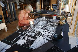 Annelie Grund - Annelie Grund creating stained glass window