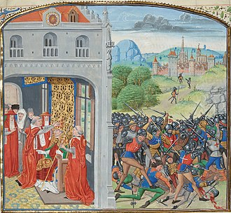 Battle of Pontvallain - Battle of Pontvallain (and Anointing of Pope Gregory XI on the left)