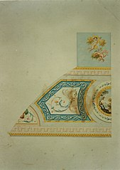 Design for a decorative detail of a ceiling in Neo-Classical style