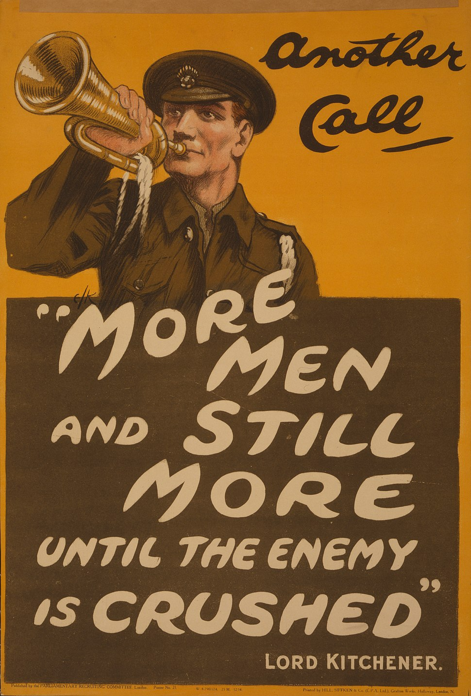 """Another call """"More men and still more until the enemy is crushed"""" Lord Kitchener LCCN2003662914-cropped"""