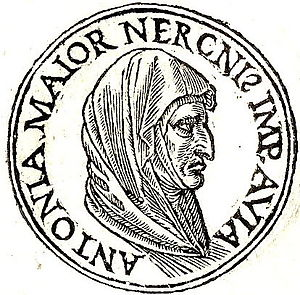 "Antonia the Elder - Antonia from Promptuarii Iconum Insigniorum. The inscription means: ""Antonia Major, Emperor Nero's grandmother."""