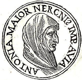 """Antonia the Elder - Antonia from Promptuarii Iconum Insigniorum. The inscription means: """"Antonia Major, Emperor Nero's grandmother."""""""