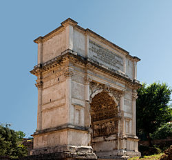 "The Arch of Titus, showing the ""Spoils of Jerusalem"" relief on the inside arch"