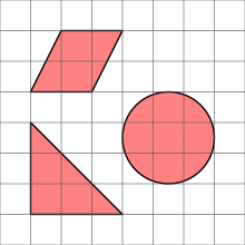 Three shapes on a square grid
