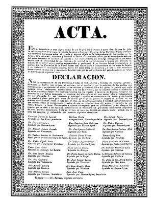 Facsímil del acta de la Declaración de la Independencia Argentina.