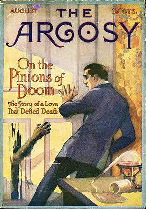 "Albert Dorrington - Dorrington's novella ""On the Pinions of Doom"" appeared in ''The Argosy'' in 1915."