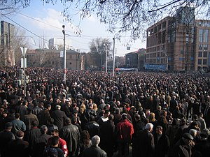 2008 Armenian presidential election protests - 4:30 pm: Over 100,000 demonstrators at French Embassy protest the government's attack in early morning
