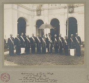 Ceylonese Mudaliyars - Mudaliyars of the Association of Ceylon Chiefs met to celebrate the King's birthday in June 1923
