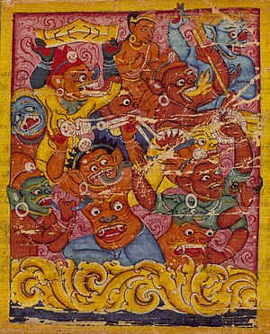 Mara (demon) - The demons of mara. Palm leaf manuscript. Nalanda, Bihar, India