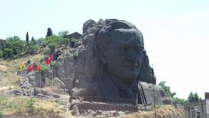 Atatürk's cult of personality - Large sculpture of Atatürk in Izmir.