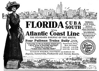 Atlantic Coast Line Railroad - 1910 advertisement for ACL trains from New York to Florida