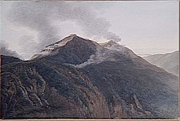 Painting of a mountain topped with a fortification showing smoke where soldiers are battling