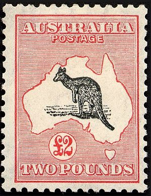 Kangaroo stamps of Australia - The £2 stamp in the Kangaroo and Map series.