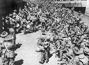 Second Australian Imperial Force in the United Kingdom - Australian soldiers shortly after disembarking at Gourock in June 1940