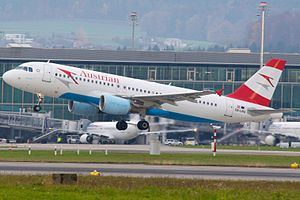 Austrian Airlines Airbus A320-200 OE-LBU Zurich International Airport.jpg