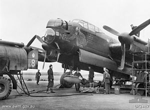 RAF Waddington - Avro Lancaster of 463 Sqn RAAF in 1944; Lancaster LM130 Nick the Nazi Neutralizer completed 48 missions, before colliding with Hurricane PZ740 from RAF Metheringham on 11 March 1945 over Blankney