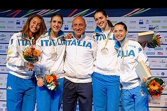 Elisa Di Francisca - Di Francisca (L) with Team Italy and coach Andrea Cipressa on the podium of the 2014 European Championships
