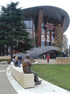 Aylesbury Waterside Theatre - Entrance to the Aylesbury Waterside Theatre, with the statue of Ronnie Barker in the foreground (Barker commenced his career in repertory theatre in Aylesbury)
