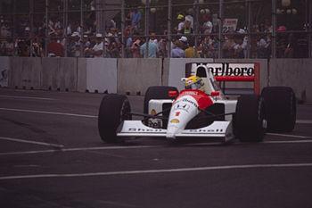 Ayrton Senna driving for McLaren at the 1991 U...