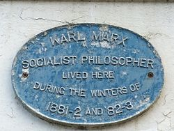 Photo of Karl Marx blue plaque