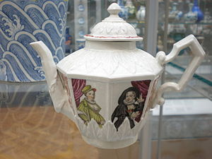 Industrial espionage - Teapot with Actresses, Vezzi porcelain factory, Venice, c. 1725. The Vezzi brothers were involved in a series of incidents of industrial espionage. It was these actions that led to the secret of manufacturing Meissen porcelain becoming widely known.