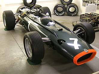 British Racing Motors - A BRM P83, the only BRM model which ran successfully with the H16 engine. Note position of inlet trumpets and cam covers on the side of the H16 engine.