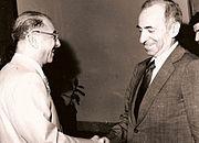 Baath Party founder Michel Aflaq with Iraqi President Ahmad Hasan al-Bakr in Baghdad in 1968