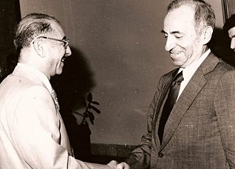 1966 Syrian coup d'état - The coup caused the 1966 Ba'ath Party split; from 1968 until 2003 there existed two National Commands. In picture, from left to right Ahmed Hassan al-Bakr and Michel Aflaq
