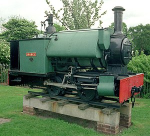 Cliffe Hill Mineral Railway - Cliffe Hill Mineral Railway locomotive Isabel, preserved on a plinth in Stafford in 1974.