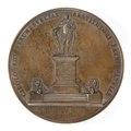 Baksida av medalj med Göthes staty föreställande Karl XIII - Skoklosters slott - 99250.tif