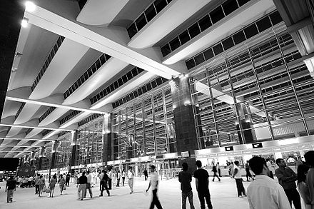 The Kempegowda International Airport is located in Devanahalli. Bangalore Airport.jpg