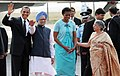 Barack Obama and the First Lady Mrs. Michelle Obama with the Prime Minister, Dr. Manmohan Singh and his wife Smt. Gursharan Kaur, on their arrival, at Palam Air Force Station, in New Delhi on November 07, 2010.jpg