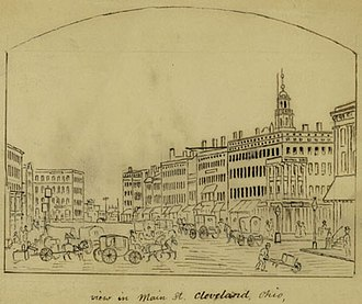 History of Cleveland - View in Main St., Cleveland, Ohio (circa 1856-1860) by John Warner Barber.