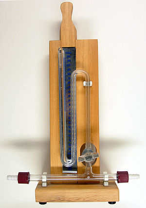 Mercury column to measure pressure, scale in m...