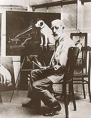 "Francis Barraud - Barraud with one of his many copies of ""His Master's Voice"""