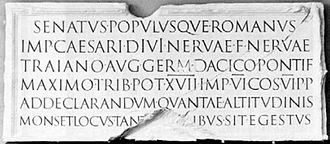"Q - The printed long-tailed Q was inspired by ancient Roman square capitals: this long-tailed Q, used here in the Latin word ""POPVLVSQVE"", was carved into Trajan's column c. AD 113."