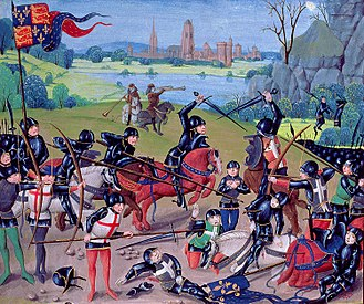 Fifteenth-century miniature depicting the English victory over France at the Battle of Agincourt. Battle of Agincourt, St. Alban's Chronicle by Thomas Walsingham.jpg