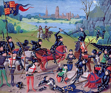 Fifteenth-century miniature depicting the English victory over France at the Battle of Agincourt. Agincour.JPG