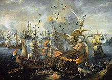 Painting of a fleet of ships showing one ship exploding in flames, with men and debris flying in the air and other men in the water, jumping overboard or taking to lifeboats