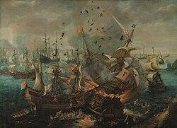 Cornelis Claesz. van Wieringen: Het ontploffen van het Spaanse admiraalsschip tijdens de zeeslag bij Gibraltar