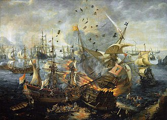 Timeline of the history of Gibraltar - The Battle of Gibraltar, by Hendrick Cornelisz Vroom. Oil on canvas. Rijksmuseum, Amsterdam
