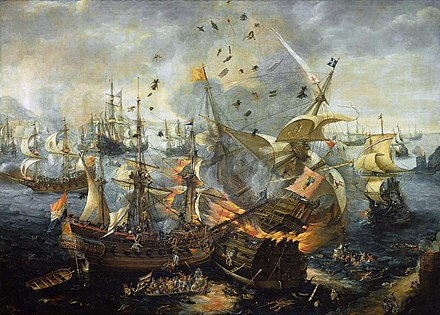 The Explosion of the Spanish Flagship during the Battle of Gibraltar by Cornelis Claesz van Wieringen Battle of Gibraltar 1607.jpg