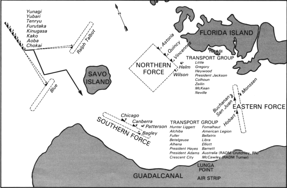 Battle of Savo Island map - disposition of forces