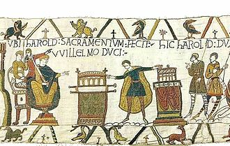 Guy I, Count of Ponthieu - Harold swearing the oath, scene 23 of the Bayeux Tapestry