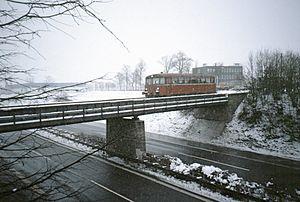 Bundesautobahn 9 - Railbus crossing the A 9 near Bayreuth, 1986