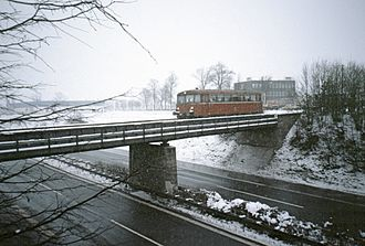Bundesautobahn 9 - Railbus crossing the A 9 near Bayreuth, 1986